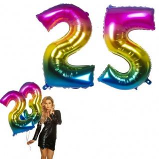 25.Geburtstag XXL FOLIENBALLON Zahl 86cm Regenbogen bunt Helium Luftballon