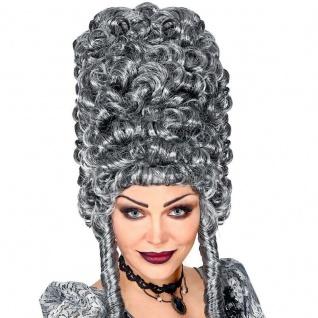 Perücke Damen Turmfrisur Grau lockig Karneval Barock Rokoko Pompadour #2492