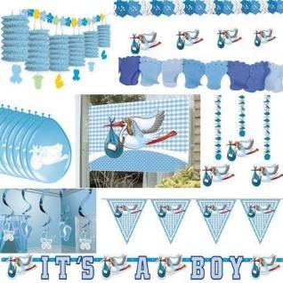 Party Deko GEBURT TAUFE JUNGE Babyparty Baby Deko blau hellblau Feier