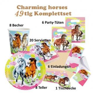 Charming Horses 2 Pferde Set 49 tlg. Kinder Geburtstag Deko, Tischdecke, Teller,