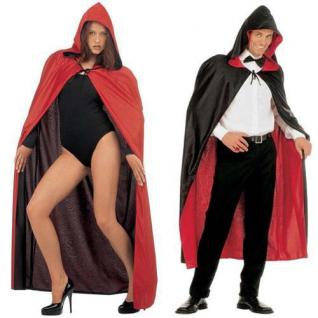 Exklusiver Wende Umhang mit Kapuze rot/schwarz Kostüm Venedig Vampir 3576