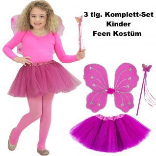 Kinder Feen Kostüm Set 3tlg. Tüllrock Flügel Zauberstab Pink - Schmetterlingsfee