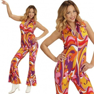70er Disco Girl Overall mit Schlag S (34/36) Damen Kostüm Hippie Jumpsuit #8941