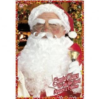 """WEIHNACHTSMANN Mütze mit Haaren Bart Augenbrauen Set """" Santa Claus"""" deLuxe 1534"""