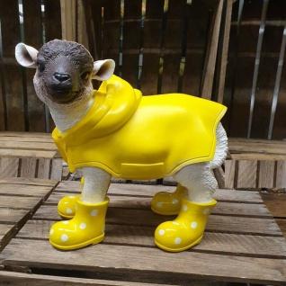 Figur Lamm mit gelben Gummistiefeln + Regenmantel Schaf Tier Garten Deko #3352