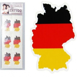 6er Set Tattoo Land Deutschland Fan Artikel Dekoration Party WM+EM #1500847
