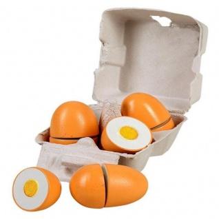 Spielzeug Lebensmittel Eierbox 4x EIER HOLZ Kaufladen Spielküche Zubehör 45044