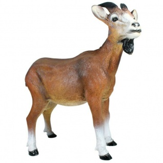 Gartenfigur Ziegenbock Geißbock braun lebensecht Tierfigur Ziege Dekofigur 2237