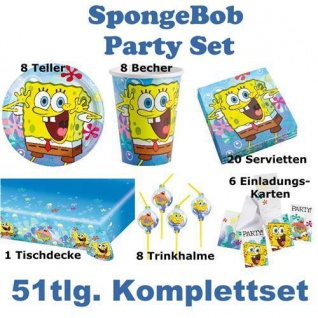 51 tlg. Set SpongeBob Kinder Geburtstag Party Deko, Tischdecke, Teller, Becher