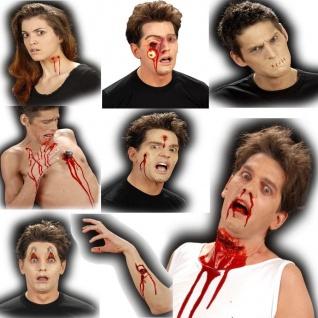 WUNDEN - F/X 3D Grusel Effect Make UP - Schuss- Brand- Riss- Wunde Narben Blut