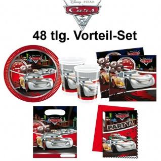 CARS silver 48 tlg. Vorteil-Set Kinder Geburtstag Party Deko - Teller Becher