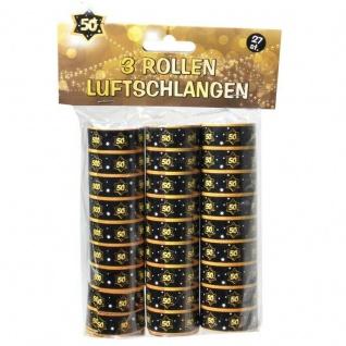 """Luftschlangen """" 50"""" Geburtstag Jubiläum Schwarz/Gold Dekoration Party Deko #007"""