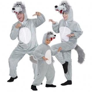 Wolf Plüsch Kostüm für Familien Damen Herren und Kinder Overal - Karneval NEU