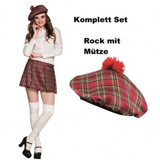 Damen Schotten Mini Rock KILT Karo Rot Kariert mit Kappe Mütze Faltenrock