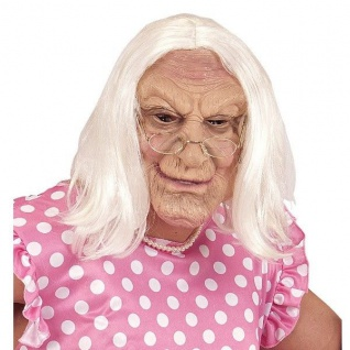 MASKE OMA mit Perücke Halloween Karneval Kostüm Alte Frau Greis #2115