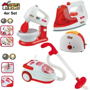 4er Set Toaster Mixer Staubsauger Bügeleisen Kinder Spielzeug Haushaltsgeräte