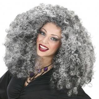 LOCKIGE HEXEN PERÜCKE grau-schwarzen Locken Hexen Damen Perücke Oma Kostüm #6384