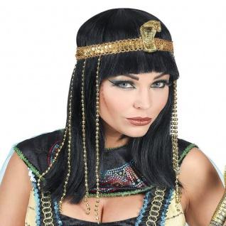 CLEOPATRA Damen Perücke mit Perlen-Stirnband und Schlange Königin Ägypterin #89