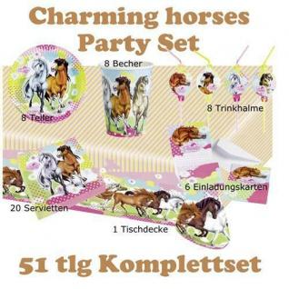 49 tlg. Set charming Horses 2 Kinder Geburtstag Party Deko, Tischdecke, Teller,