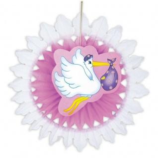 Storch mit Baby 50 cm Fächer rosa Geburt Mädchen Baby Party Deko #5787