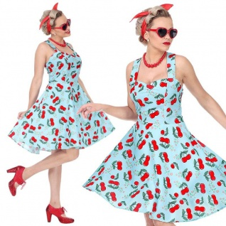 50er Jahre Rockabilly Petticoat Kleid 42/44 (L) Damen Kostüm Kirschen blau #4833