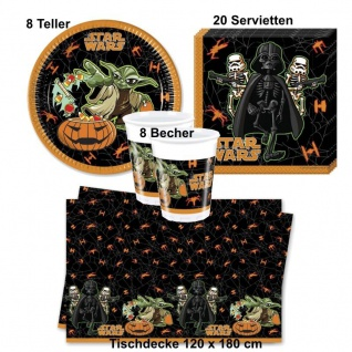 STAR WARS Halloween Party Set - Teller Becher Servietten Tischdecke