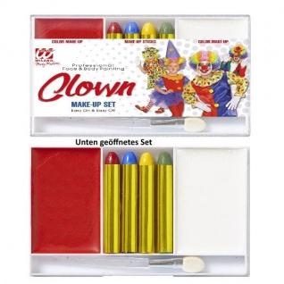 CLOWN Make-Up Set rote und weiße professionelle Theater Schminke #2404
