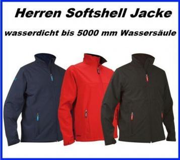 HERREN SOFTSHELL Jacke wasserdicht bis 5000 mm Wassersäule, atmungsaktiv