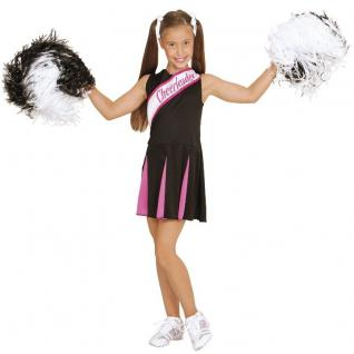 Cheerleader Kinder Kostüm schwarz-pink Mädchen - Karneval 104, 116, 128, 140, 158