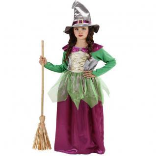 Hexe Mädchen Hexen Kostüm Bella Kleid mit Hut Kinder Halloween 128, 140 158 #1296