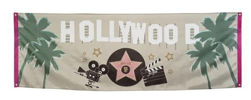 Stoff Banner Hollywood 220 x 74 cm - Film VIP Motto Party Deko