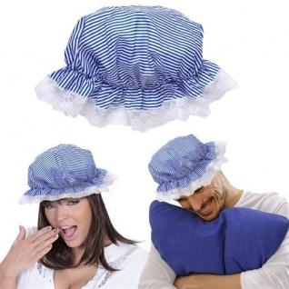 NACHTHAUBE SCHLAFHAUBE blau-weiß gestreift Nachtmütze Schlafmütze Mütze Hut Magd