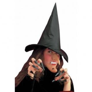 Hexen Set Hut Nase Kinn Gebiss und Fingernägel Halloween Fasching Zubehör