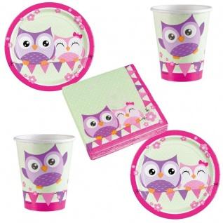 OWL Eule Party Set Becher Servietten Pappteller Party Deko Kinder Geburtstag