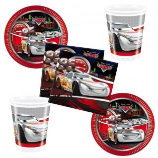 CARS silver Party Set 16 x Becher 20 x Servietten 16 x Teller Kinder Geburtstag