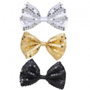 PAILLETTEN FLIEGE Gold Silber schwarz Glitzer Glitter Bowtie Show Hochzeit