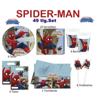 Spiderman 49 tlg. Geburtstag Set Teller Becher Servietten Party Kinder