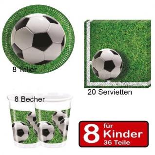 FUSSBALL Platz Party Geburtstag Set - Teller Becher Servietten - für 8 Kinder