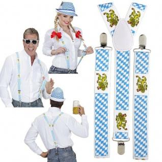 HOSENTRÄGER Oktoberfest Bayrische Trachten blau weiß Bayern Kostüm Zubehör