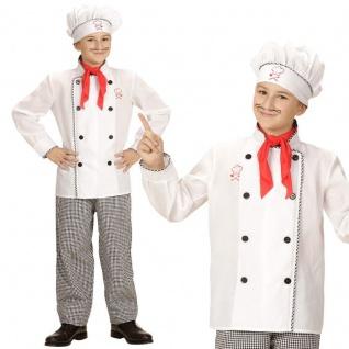 Chefkoch Koch Kinder Kostüm Gr. 128 (5-7 J.) 3tlg. Oberteil Hose Mütze #616