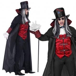 VAMPIR DRACULA Herren Kostüm - Halloween langer Mantel mit Weste Jabot, Zylinder