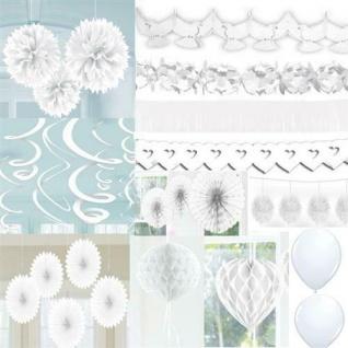 WEISSE PARTY Dekoration AUSWAHL Hochzeit Girlande, Pompoms, Swirl, Konfetti