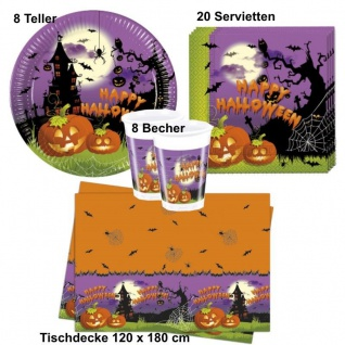 SPOOKY Halloween Grusel Party Set - Teller Becher Servietten Tischdecke