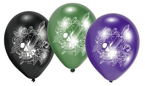 6 LUFTBALLONS SKULL PARTY 2 Dekoration Geburtstag Halloween deko