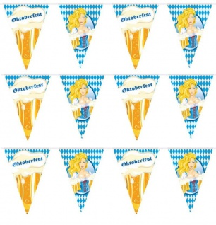 10 Meter Wimpelkette Flaggen-Banner Girlande Bayern Oktoberfest Party Deko #1495