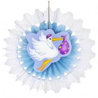 Storch mit Baby 50 cm Fächer Blau Geburt Jungen Baby Party Deko #5788