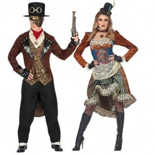 Exklusives STEAMPUNK Partner Kostüm VICTORY Damen & Herren Viktorianisch Gothic