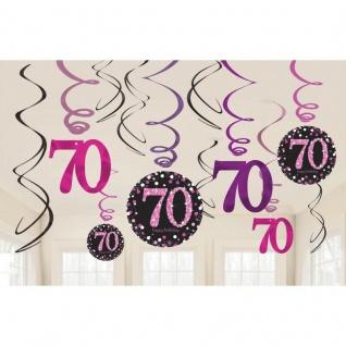 70. Geburtstag Party 12 Swirl Girlanden Glamour Pink Schwarz Raum Deko #1747