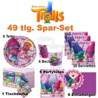49 tlg. Spar-Set TROLLS Dreamworks Kinder Geburtstag Party Deko