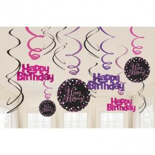 HAPPY BIRTHDAY Geburtstag Party 12 Swirl Girlanden Pink Schwarz Raum Deko 01183